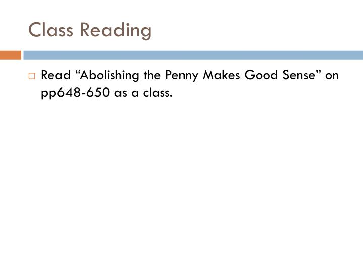 Class Reading