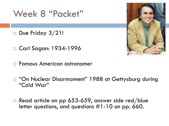 """Week 8 """"Packet"""""""