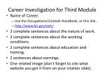 career investigation for third module