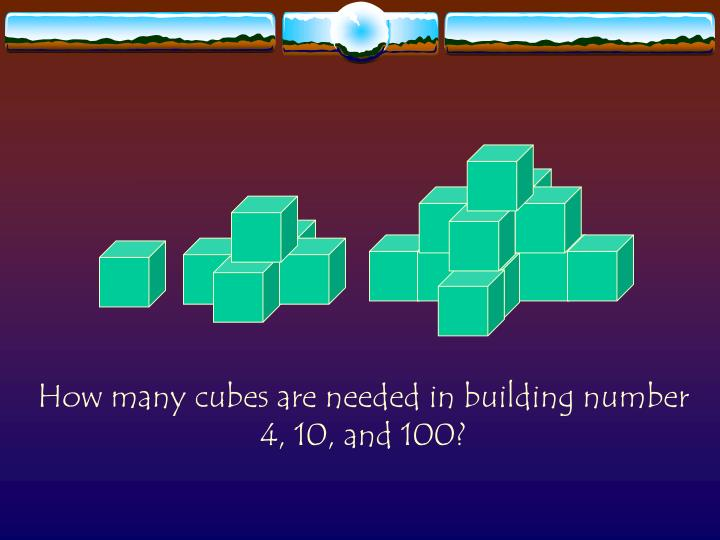 How many cubes are needed in building number 4, 10, and 100?