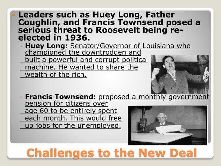 Leaders such as Huey Long, Father Coughlin, and Francis Townsend posed a serious threat to Roosevelt being re-elected in 1936.