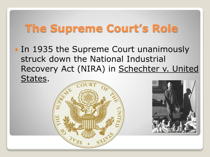 In 1935 the Supreme Court unanimously struck down the National Industrial Recovery Act (NIRA) in