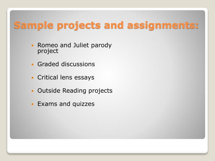 Sample projects and assignments: