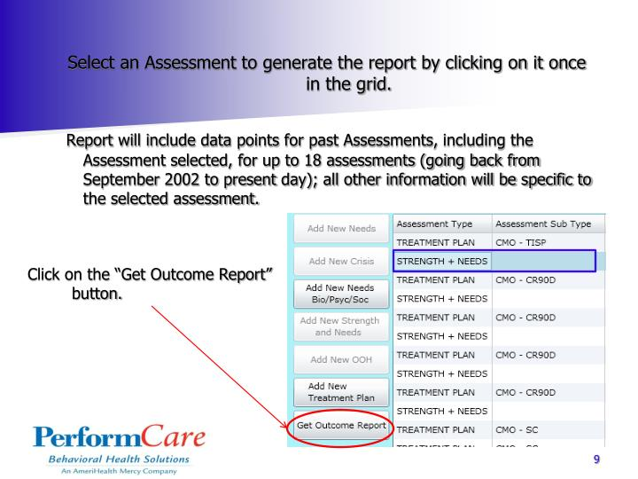 Select an Assessment to generate the report by clicking on it once in the grid.