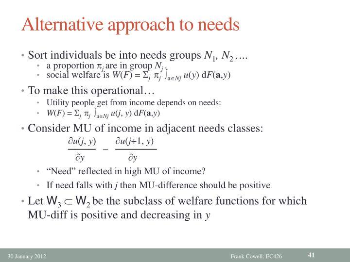 Alternative approach to needs