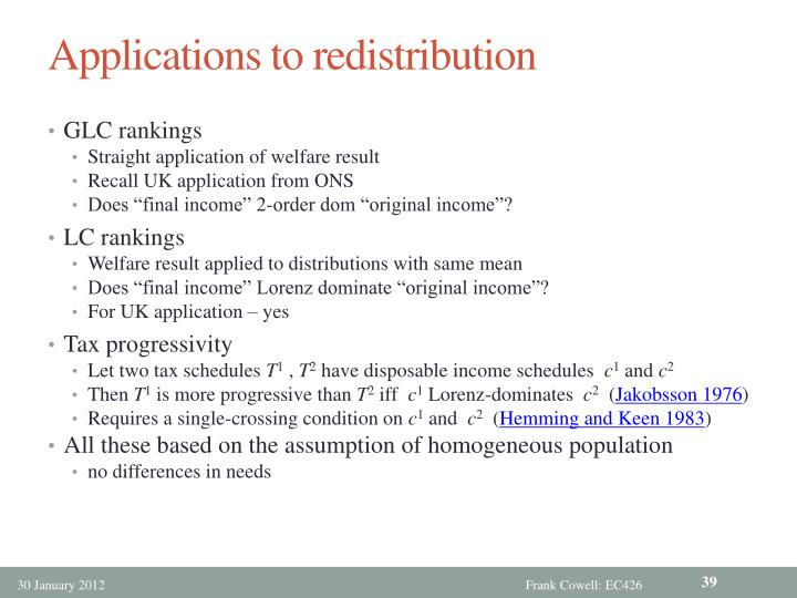 Applications to redistribution