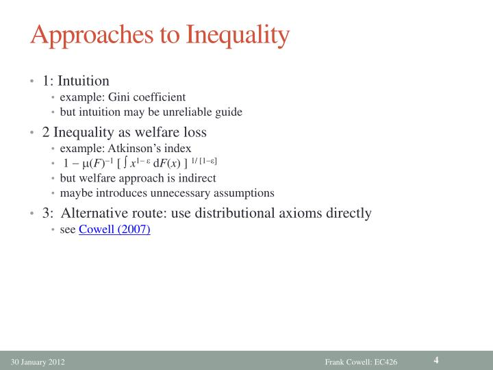 Approaches to Inequality