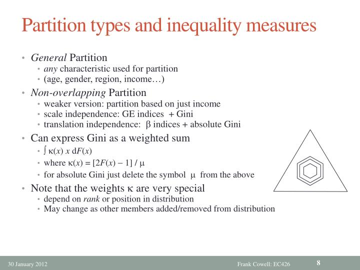 Partition types and inequality measures