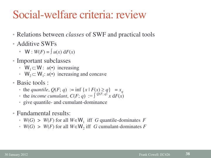 Social-welfare criteria: review