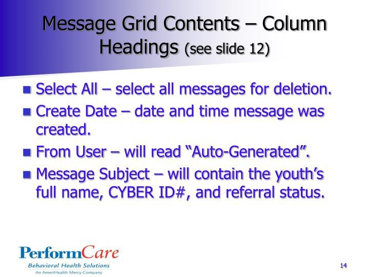 Message Grid Contents – Column Headings