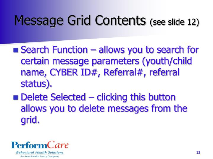 Message Grid Contents