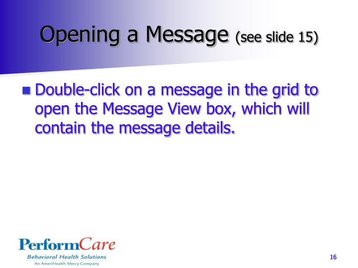 Opening a Message