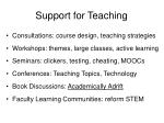support for teaching