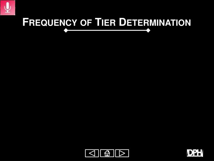 Frequency of Tier Determination