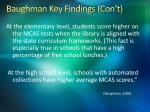 baughman key findings con t