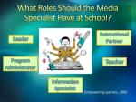 what roles should the media specialist have at school