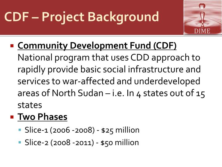 CDF – Project Background