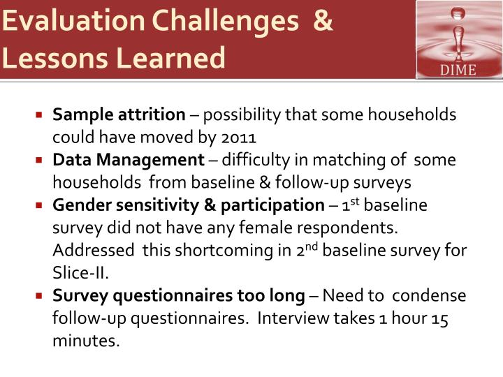 Evaluation Challenges  & Lessons Learned