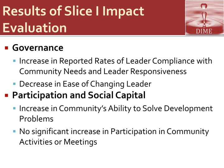 Results of Slice I Impact Evaluation