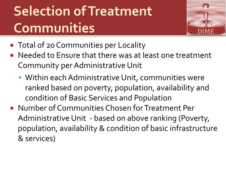 Selection of Treatment Communities