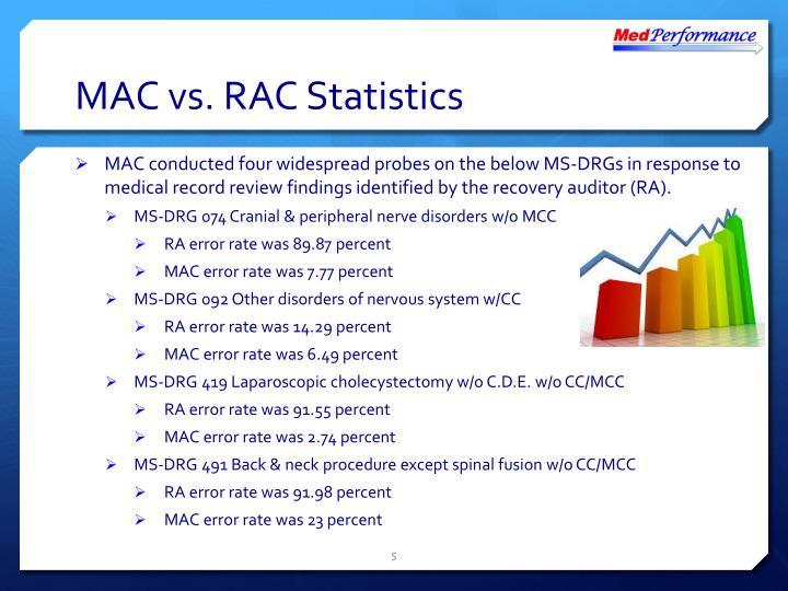 MAC vs. RAC Statistics