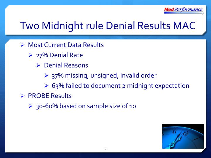 Two Midnight rule Denial Results MAC