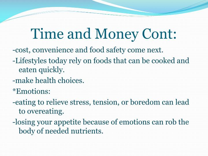 Time and Money Cont: