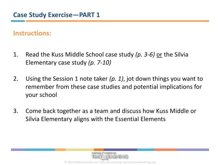Case Study Exercise—PART 1