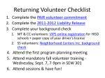 returning volunteer checklist