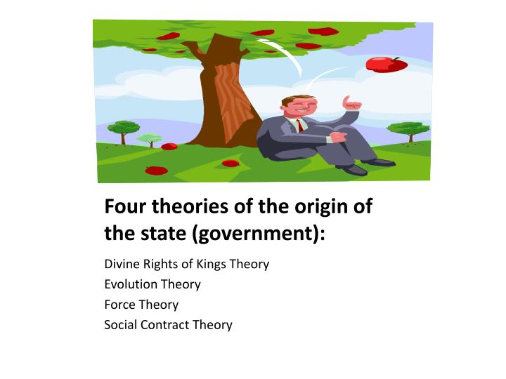 Four theories of the origin of the state (government):