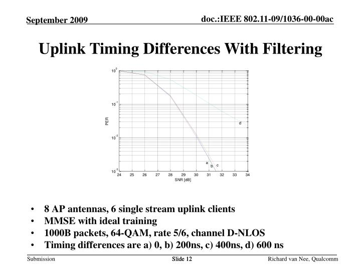 Uplink Timing Differences With Filtering