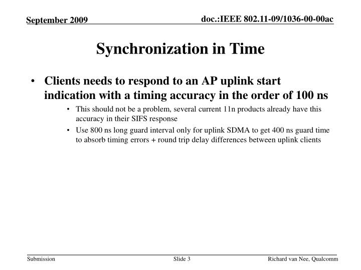 Synchronization in Time