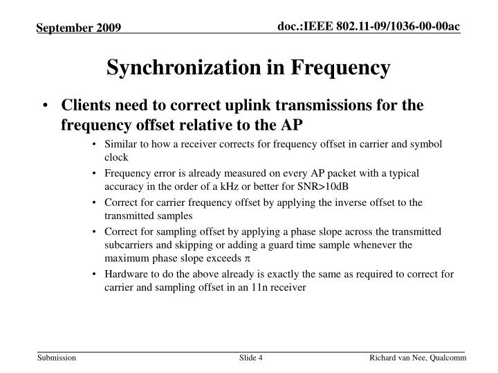 Synchronization in Frequency