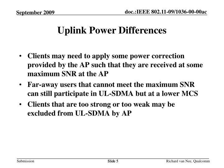 Uplink Power Differences