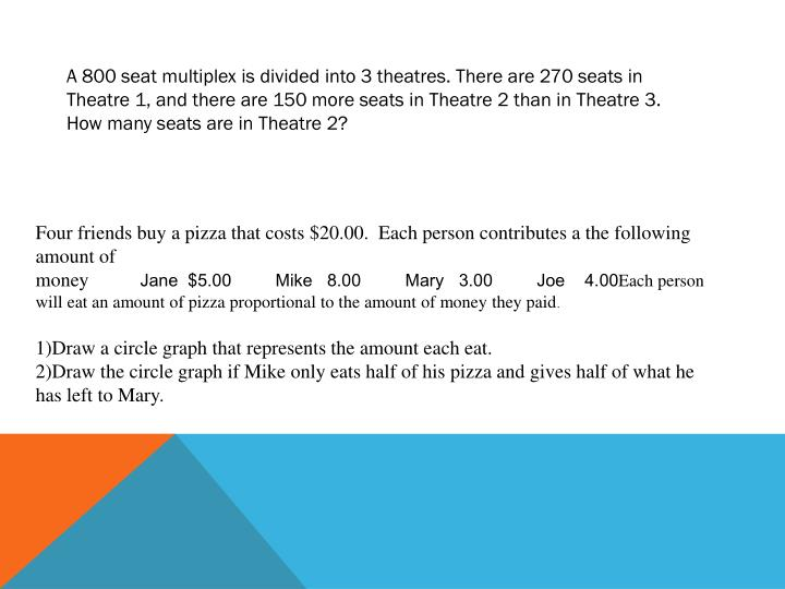 A 800 seat multiplex is divided into 3 theatres. There are 270 seats in Theatre 1, and there are 150 more seats in Theatre 2 than in Theatre 3. How many seats are in Theatre 2?