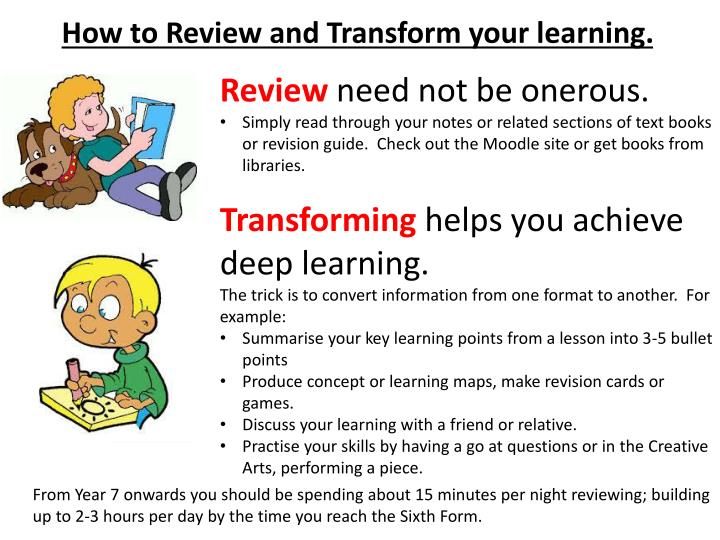How to Review and Transform your learning.