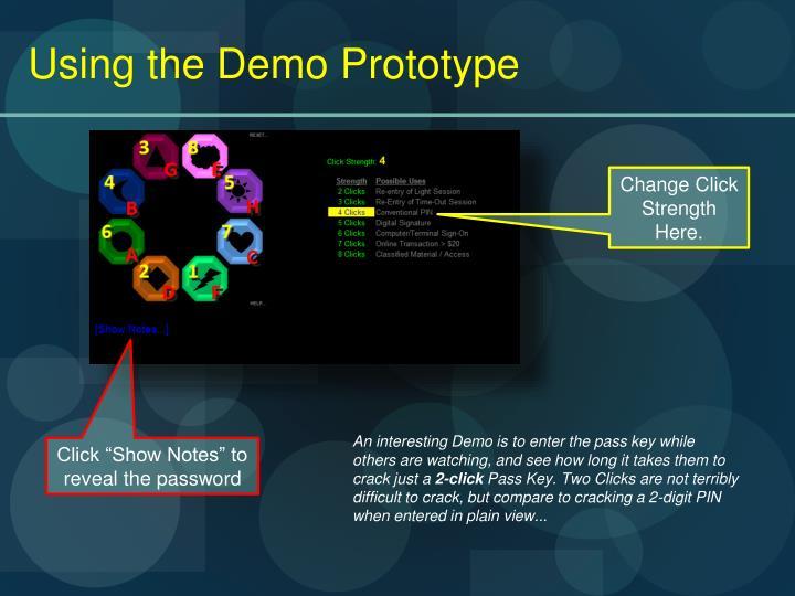 Using the Demo Prototype