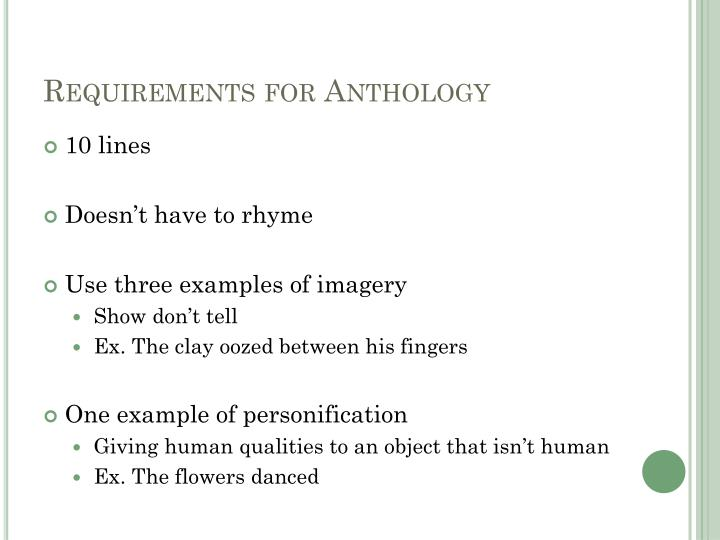 Requirements for Anthology