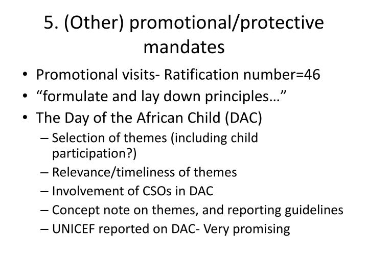 5. (Other) promotional/protective mandates