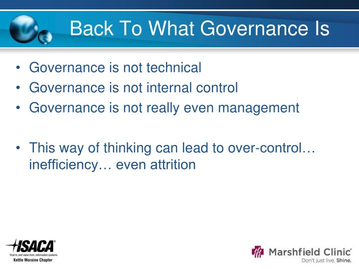 Back To What Governance Is