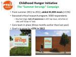 childhood hunger initiative the summer servings campaign