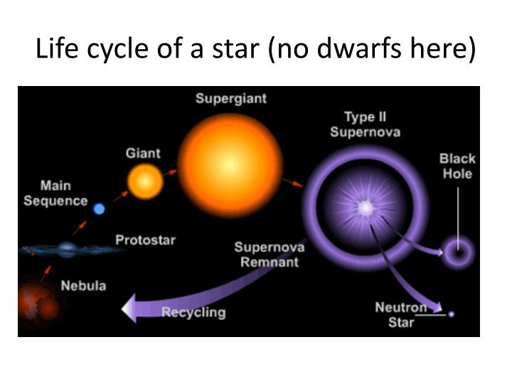 Life cycle of a star (no dwarfs here)