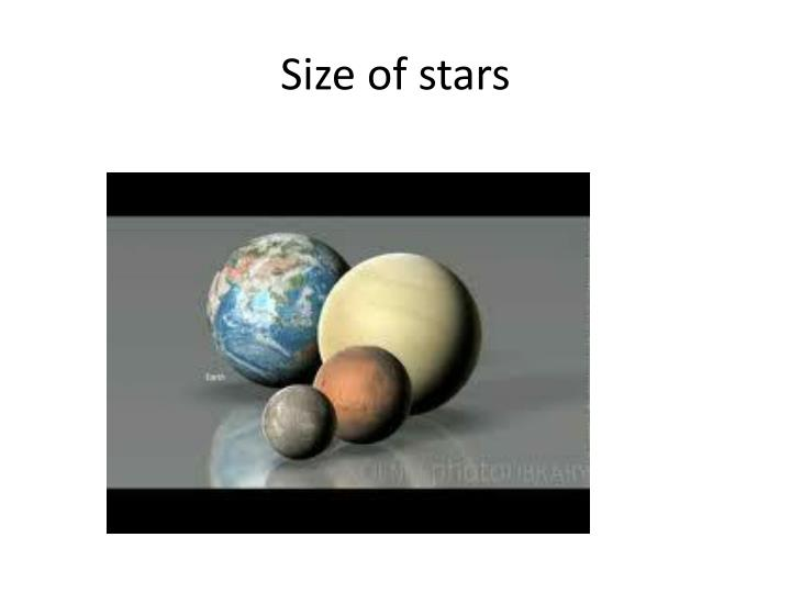 Size of stars