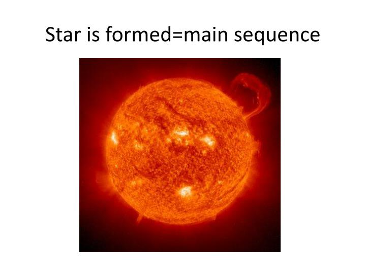 Star is formed=main sequence