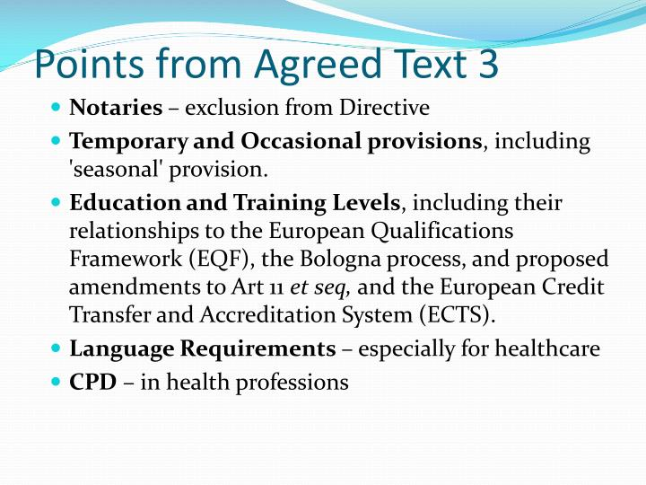 Points from Agreed Text 3
