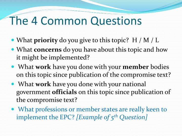 The 4 Common Questions