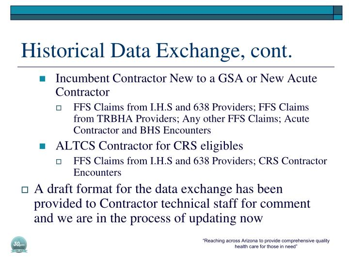 Historical Data Exchange, cont
