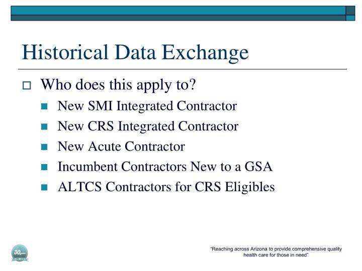 Historical Data Exchange