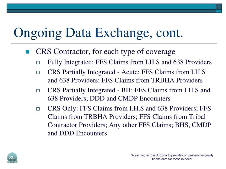 Ongoing Data Exchange, cont