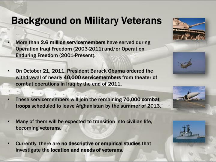 Background on Military Veterans